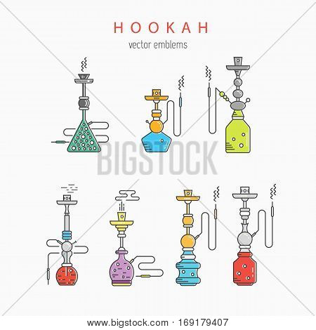 Hookah vector linear icons illustration. Set of hookah vector icons isolated on white background. Hookah vector logo line collection. Smoking hookah vector