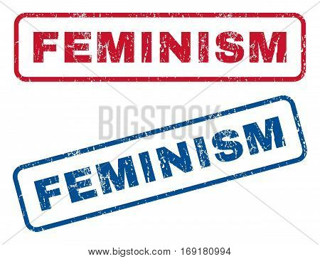 Feminism text rubber seal stamp watermarks. Vector style is blue and red ink tag inside rounded rectangular shape. Grunge design and dust texture. Blue and red stickers.