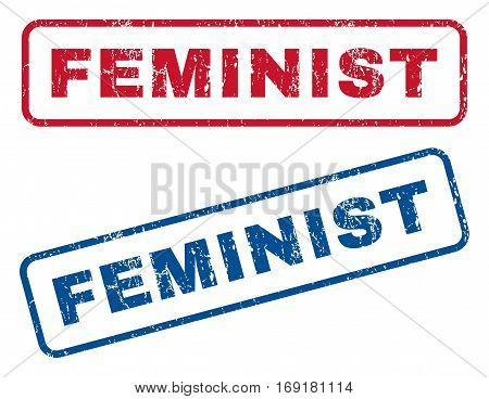 Feminist text rubber seal stamp watermarks. Vector style is blue and red ink tag inside rounded rectangular banner. Grunge design and unclean texture. Blue and red signs.