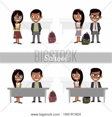 Schoolboys and schoolgirls. Set of characters elementary school students. Vector illustration of a flat design.