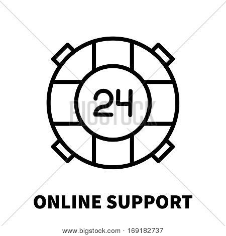 Online support icon or logo in modern line style. High quality black outline pictogram for web site design and mobile apps. Vector illustration on a white background.