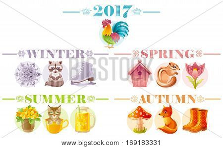 Calendar 2017 icon set. Cute cartoon nature icons. Cat fox squirrel cock raccoon flower nesting box smoothie. Text lettering abstract design. Poster flyer template. Baby kids four seasons symbol