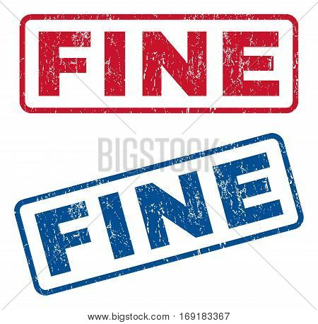 Fine text rubber seal stamp watermarks. Vector style is blue and red ink caption inside rounded rectangular shape. Grunge design and unclean texture. Blue and red signs.