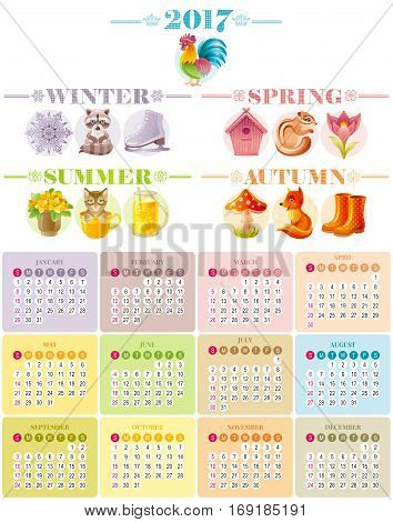 Calendar 2017 icon set vector illustration. Four season icons. Cartoon animal poster. Spring summer autumn winter. January february march april may june july august september october november december