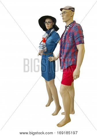 Two mannequins male and female dressed in summer fashionable clothes isolated on white background. No brand names or copyright objects.