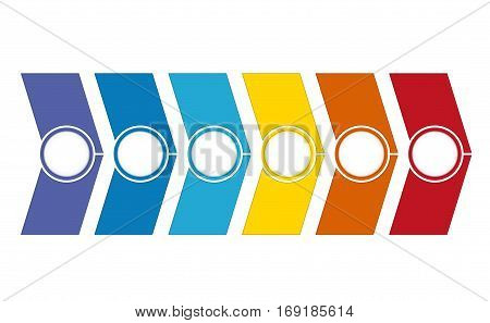 Template Timeline Infographic from colour arrows 6 position on white background