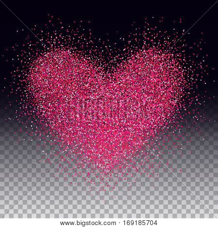Confetti heart. Valentines day holiday symbol. Love vector. Pink confetti heart shape. Romantic illustration for web design creative projects or printed products.