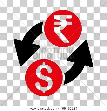 Dollar Rupee Exchange icon. Vector illustration style is flat iconic bicolor symbol intensive red and black colors transparent background. Designed for web and software interfaces.