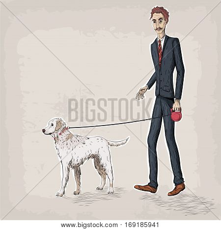 Men male person human people suit jacket shoes tie hold hand walking a dog pet leash labrador breed business vector retro vintage close-up beautiful awesome creative vertical illustration sign