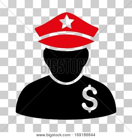 Financial Policeman icon. Vector illustration style is flat iconic bicolor symbol intensive red and black colors transparent background. Designed for web and software interfaces.