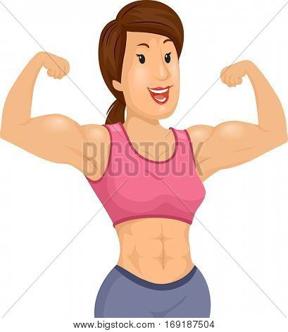 Illustration of a Muscular Woman in a Pink Midriff Tank Top and Gray Sweatpants Flexing Her Biceps poster
