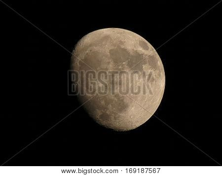 almost full moon detailed craters clearly visible, isolated