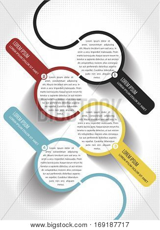 Vector abstract infographic template with 1234 steps and halftone effect in background