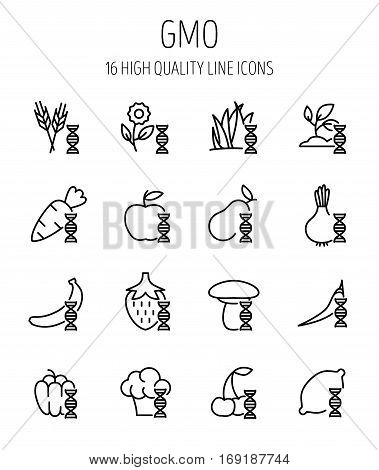 Set of GMO icons in modern thin line style. High quality black outline biology symbols for web site design and mobile apps. Simple GMO pictograms on a white background.