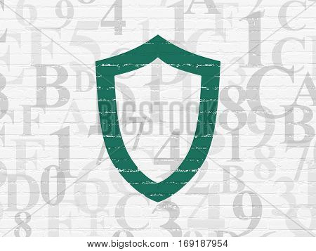 Security concept: Painted green Contoured Shield icon on White Brick wall background with  Hexadecimal Code