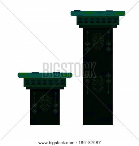 Ancient columns isolated vector illustration. Green color antique stone pillars with mold and fungus.