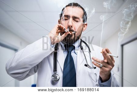 Stressed doctor smoking many cigarettes at the same time