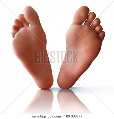 Clean bare feet with reflection and shadow over white background