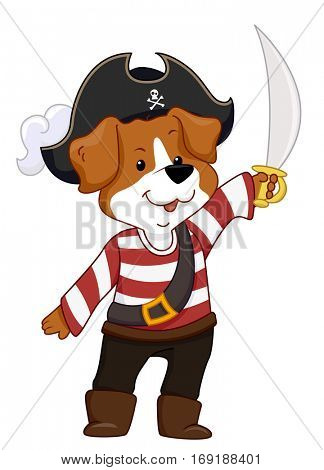 Mascot Illustration Featuring a Dog Dressed as a Pirate Raising a Scimitar