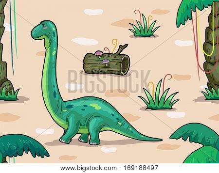Seamless Background Illustration Featuring a Brontosaurus Surrounded by Prehistoric Foliage