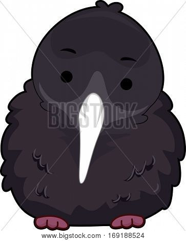 Cute Animal Illustration of a Kiwi with Fluffy Feathers Staring Curiously