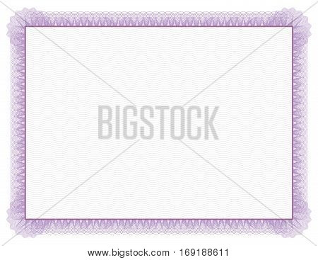 Classic style Certificate with light purple floral border