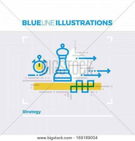 Strategy Blue Line Illustration.