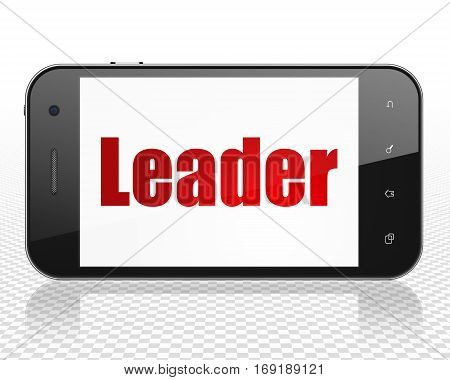 Business concept: Smartphone with red text Leader on display, 3D rendering