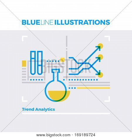Trend Analytics Blue Line Illustration.