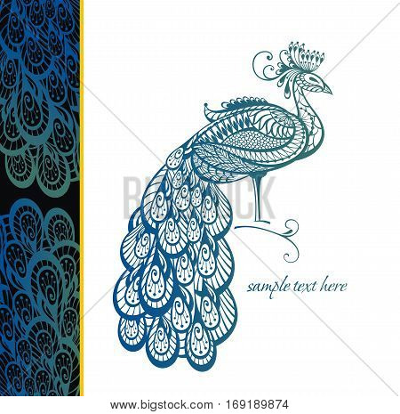 Vector illustration of peacock. Bird symbol for your design