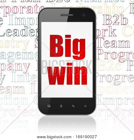 Finance concept: Smartphone with  red text Big Win on display,  Tag Cloud background, 3D rendering