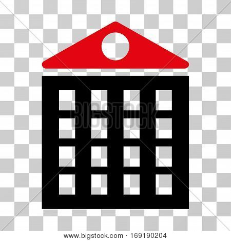 Multi-Storey House icon. Vector illustration style is flat iconic bicolor symbol intensive red and black colors transparent background. Designed for web and software interfaces.