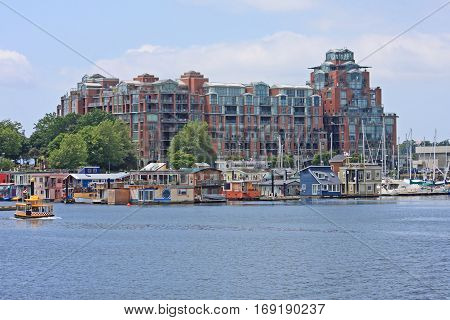 Floating village at Fisherman's wharf in Victoria
