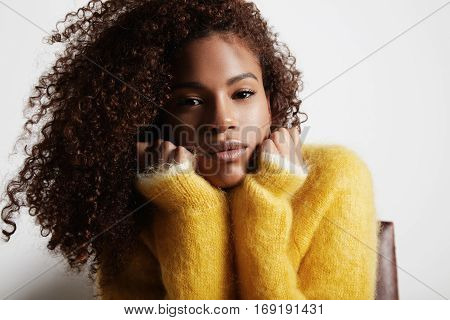 Beauty Black Woman With Ideal Curly Hair Portrait