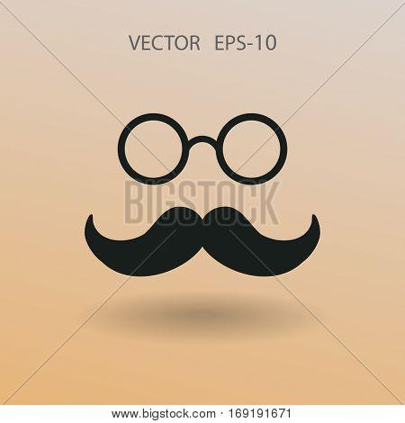 Flat shadow retro style mustache and eyeglasses ico