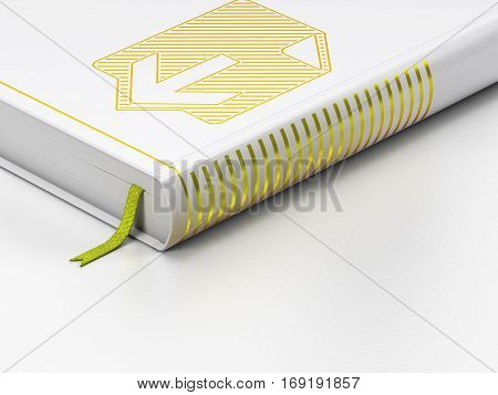 Web design concept: closed book with Gold Download icon on floor, white background, 3D rendering