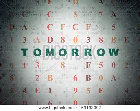 Time concept: Painted green text Tomorrow on Digital Data Paper background with Hexadecimal Code