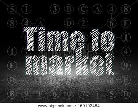 Timeline concept: Glowing text Time to Market in grunge dark room with Dirty Floor, black background with Scheme Of Hexadecimal Code