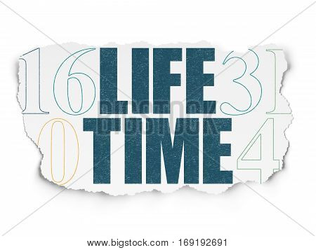 Time concept: Painted blue text Life Time on Torn Paper background with  Hexadecimal Code