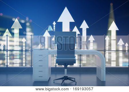 Abstract roof office with night city view and upward arrows. Success concept 3D Rendering
