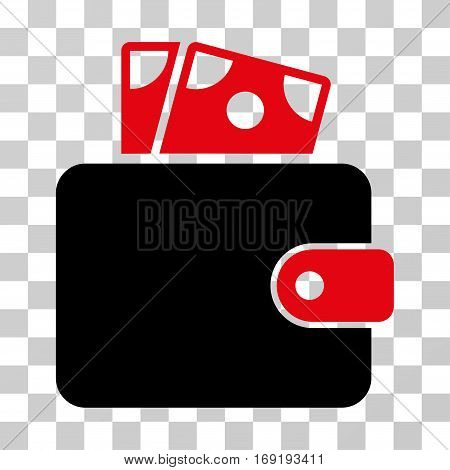 Wallet icon. Vector illustration style is flat iconic bicolor symbol intensive red and black colors transparent background. Designed for web and software interfaces.