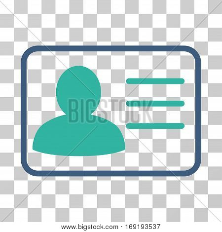 Account Card icon. Vector illustration style is flat iconic bicolor symbol cobalt and cyan colors transparent background. Designed for web and software interfaces.