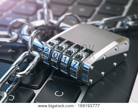 .Computer security or safety concept. Laptop keyboard with lock password 2017 and chain. 3d illustration