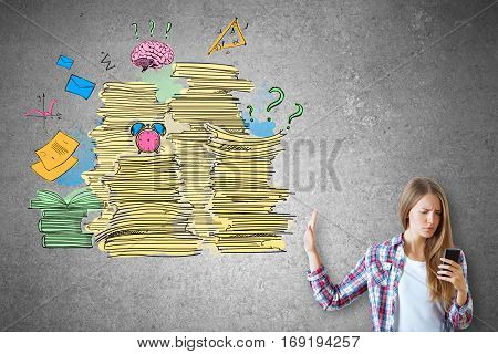 Woman on concrete background using smartphone and saying no to abstract drawing of paperwork stacks alarm clock and other items. Job duties concept