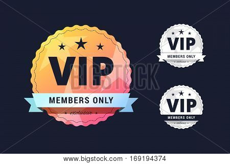Vip club badge. Members only sign in three different styles for casion, poker club and other.