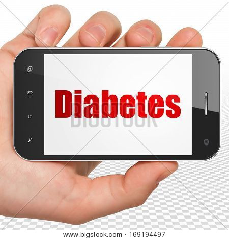Health concept: Hand Holding Smartphone with red text Diabetes on display, 3D rendering