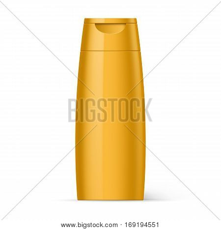 Yellow Bottle Shampoo Packaging Isolated at White Background