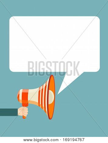 Hand holding megaphone with bubble speech. Stock vector illustration