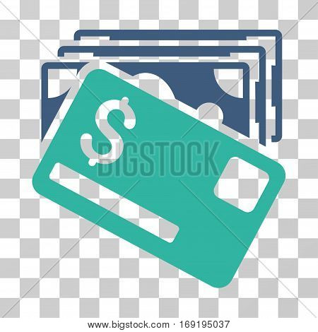 Banknotes And Card icon. Vector illustration style is flat iconic bicolor symbol cobalt and cyan colors transparent background. Designed for web and software interfaces.