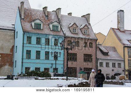 Riga, Latvia - January 5, 2015: Colored houses on the main street in Riga Christmas holidays